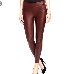 Ann Taylor Faux Leather Leggings Sz 0 Burgundy